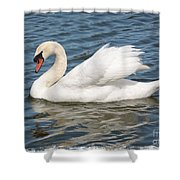 Swan On Blue Waves With Border Shower Curtain