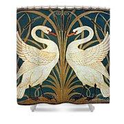 Swan Rush And Iris Shower Curtain