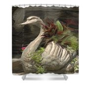 Swan With Beautiful Flowers Shower Curtain