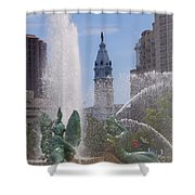 Swann Fountain In Philadelphia Shower Curtain