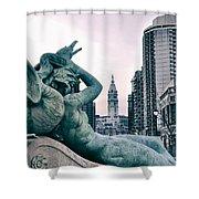 Swann Fountain Statue Shower Curtain