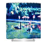 Swans And Flamingos Shower Curtain