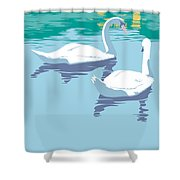 Abstract Swans Bird Lake Pop Art Nouveau Retro 80s 1980s Landscape Stylized Large Painting  Shower Curtain