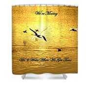 Swans Flying Over The Water Shower Curtain