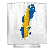 Sweden Painted Flag Map Shower Curtain
