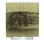 Swedish Parliament In Sepia Shower Curtain