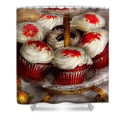 Sweet - Cupcake - Red Velvet Cupcakes  Shower Curtain by Mike Savad