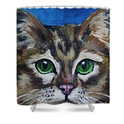 Sweet Green Eyes  Shower Curtain