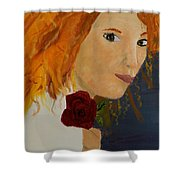 Sweet Lady Holding A Rose Shower Curtain