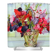Sweet Peas In A Vase Shower Curtain
