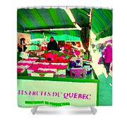 Sweet Ripe Strawberries Petits Fruits Du Quebec Direct From Farmers Market Food Art Carole Spandau  Shower Curtain