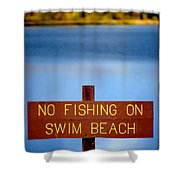 Swim Beach Sign L Shower Curtain