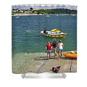 Swimmers On The Slipway - St Mawes Shower Curtain
