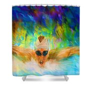Swimming Fast Shower Curtain
