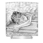 Swimming Girl Shower Curtain