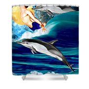 Swimming With Dolphins Shower Curtain