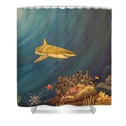Swimming With Sharks Shower Curtain