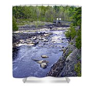 Swing Bridge Over The River Shower Curtain