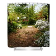 Swing In The Garden Shower Curtain by Sandy Keeton