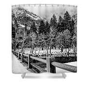 Swinging Bridge In Winter Shower Curtain