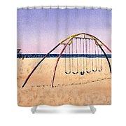 Swingset On Beach Shower Curtain
