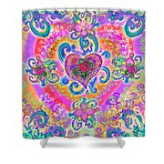 Swirley Heart Variant 1 Shower Curtain