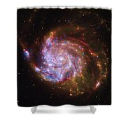 Swirling Red Galaxy Shower Curtain