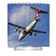 Swiss Air Bae146 Hb-ixw Shower Curtain