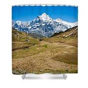 Swiss Alps - Schreckhorn And Valley Shower Curtain
