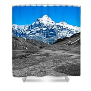 Swiss Alps - Schreckhorn And Valley In Black And White Shower Curtain