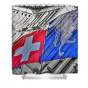 Swiss Flags  Shower Curtain