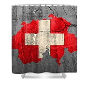 Switzerland Flag Country Outline Painted On Old Cracked Cement Shower Curtain