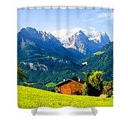 Switzerland Oil On Canvas Shower Curtain