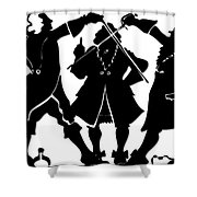 Sword Duel Silhouette  Shower Curtain