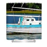Swordfish Boat Pano Shower Curtain