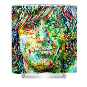 Syd Barrett - Watercolor Portrait Shower Curtain