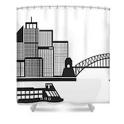 Sydney Australia Skyline Black And White Illustration Shower Curtain