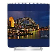 Sydney Harbour Bridge By Night Shower Curtain by Kaye Menner
