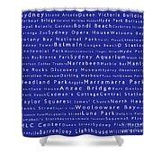 Sydney In Words Blue Shower Curtain