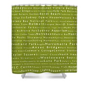 Sydney In Words Olive Shower Curtain