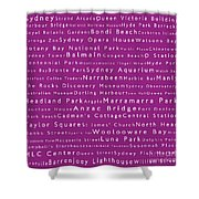 Sydney In Words Pink Shower Curtain