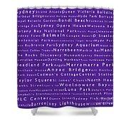 Sydney In Words Purple Shower Curtain