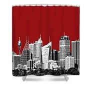 Sydney Skyline 1 - Dark Red Shower Curtain