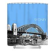 Sydney Skyline 2 Harbor Bridge - Light Blue Shower Curtain
