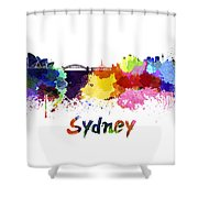 Sydney Skyline In Watercolor Shower Curtain