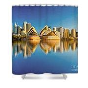 Sydney Skyline With Reflection Shower Curtain