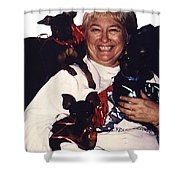 Sylver Short With Her Miniature Pinschers Christmas 2002-2008 Shower Curtain