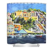 Symi Harbor The Grecian Isle  Shower Curtain by Carol Wisniewski