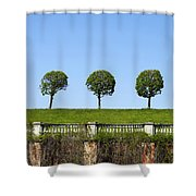 Symmetric Trees Over Old Fence Shower Curtain