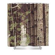 Symmetrical Evergreens  Shower Curtain